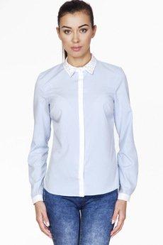 ABG - Błękitna koszula z plisą i zdobionym kołnierzem