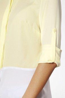 ABG - Cytrynowo biała koszula z podwijanym rękawem