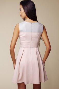 ABG - Szaro różowa sukienka z siatką