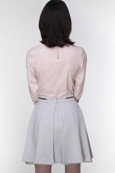 ABG - Szara rozkloszowana spódnica z zamkami w pasie
