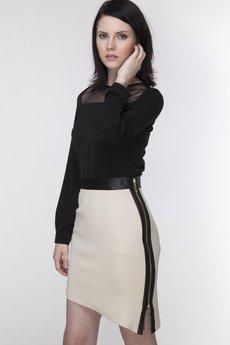 ABG - Beżowa spódnica z dwustronnym suwakiem