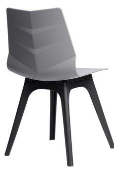 MIA home passion - Krzesło Leaf szare z czarną podstawą