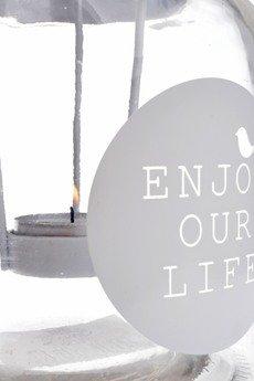MIA home passion - Lampion szklany Enjoy Your Life mniejszy