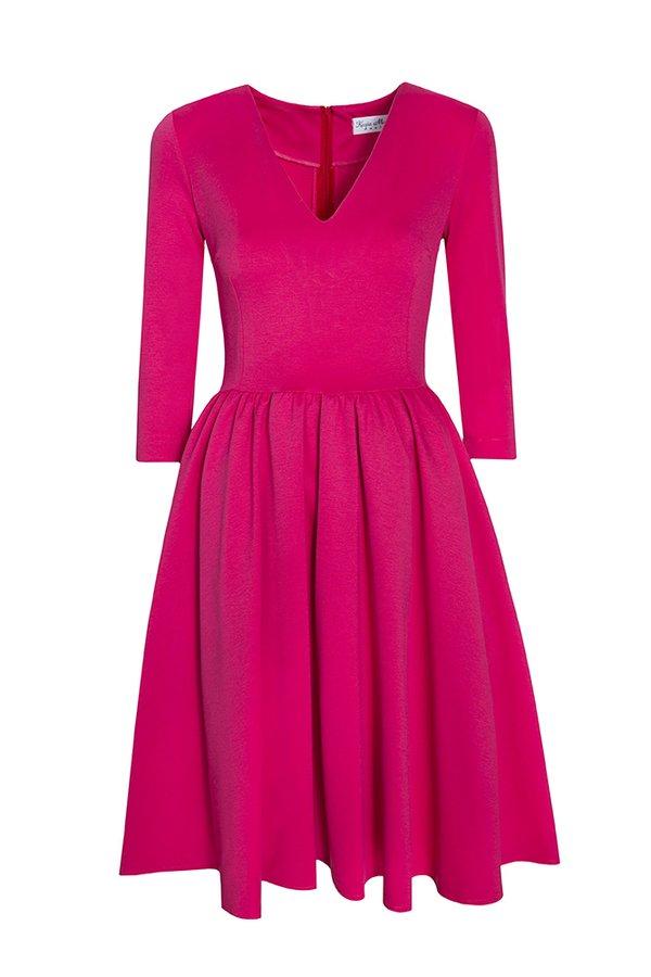 5802aa2d59 Rozkloszowana Sukienka Midi Czerwień - Czerwony
