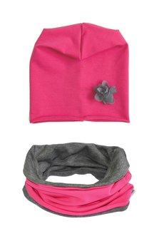LIMONKA - Zestaw komin i czapka różowa z szarym kwiatkiem