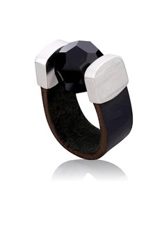 Joccos Design - Black Crystal Leather Ring in Silver 72a69a