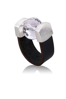 Joccos Design - Disco Ball Black Leather Ring in Silver b5d247