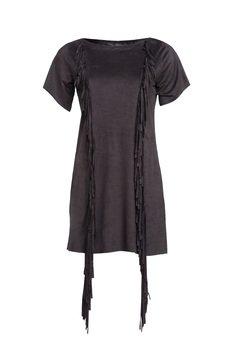 Czarna sukienka z fredzlami ceca89