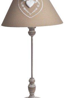Lampa bezowa z abazurem z sercem e7b582