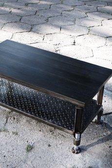 ReNowe Art - Industrialny Stolik Kawowy Z Czarnego Dębu