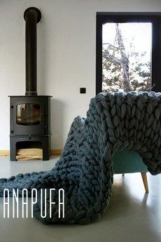 PANAPUFA - PLED 100% WEŁNIANY na drutach XXL