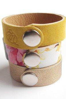 Mikashka - Komplet bransolet skórzanych kwiaty żółte