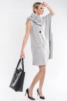 Asymetryczna tunika /sukienka z kominem SL2144 - 45493