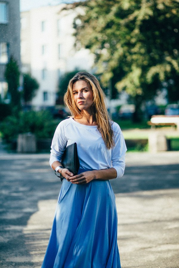 Spódnica Midi Inka Blue Niebieski | Risk Made In Warsaw