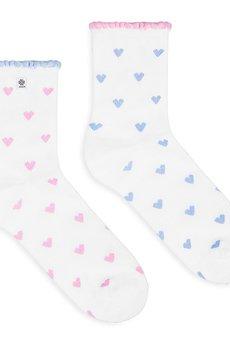 4LCK - 4LCK Skarpety na Walentynki w różowe Serca