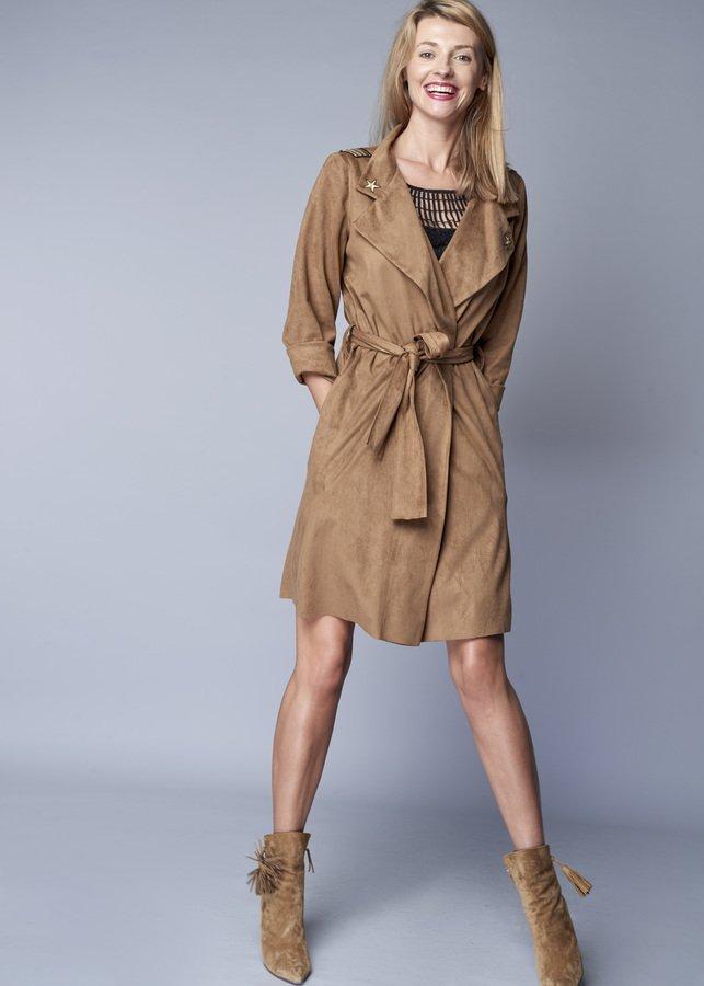 Płaszcz Z Nubuku Z Aplikacjami Lub Bez Brązowy | Dorothé