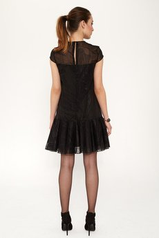 Luiza Kimak - Sukienka z czarnego szyfonu z nadrukiem