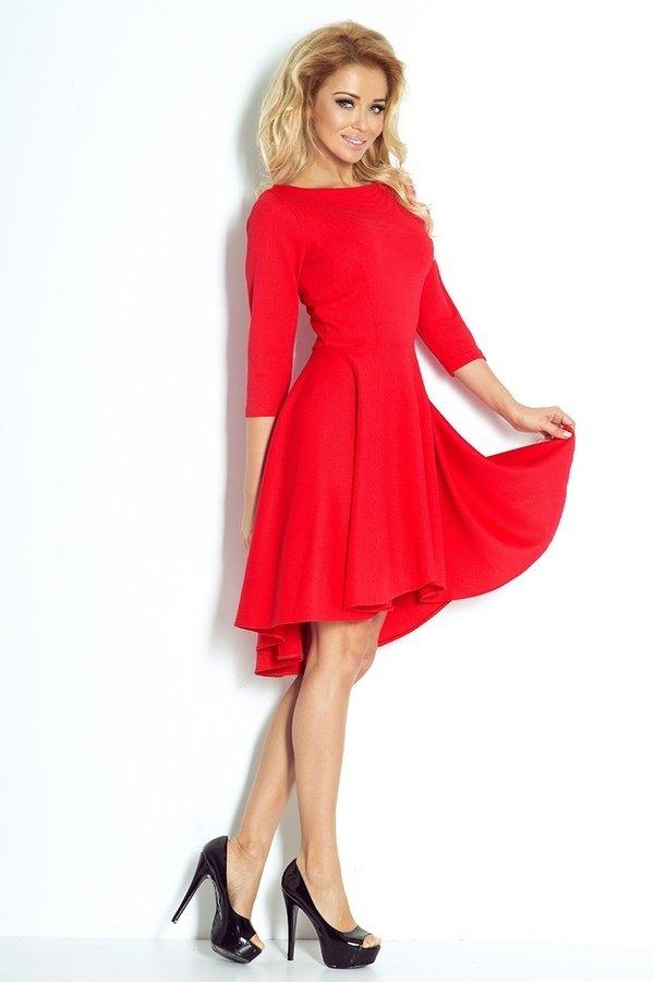 213564da55 Sukienka Asymetryczna Długi Rękaw Czerwona - Czerwony