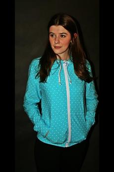 Button - BLUZA BUTTON HOODIE DOTS UNISEX miętowa