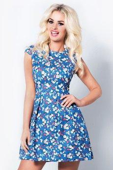 COCOVIU - sukienka w kwiaty na niebieskim tle