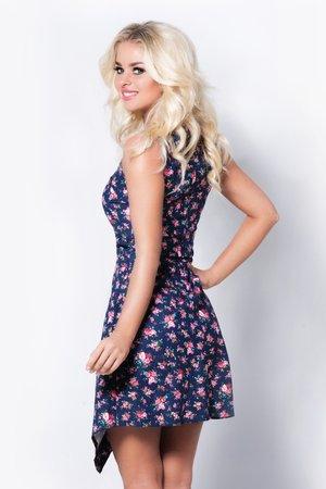 asymetryczna sukienka w kwiaty z lamówką - 59337