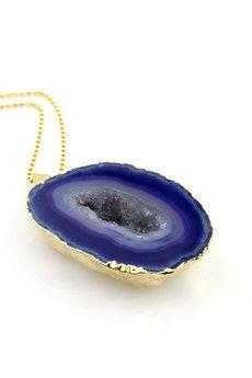Brazi Druse Jewelry - Colare Geoda Agatu Fiolet złoto