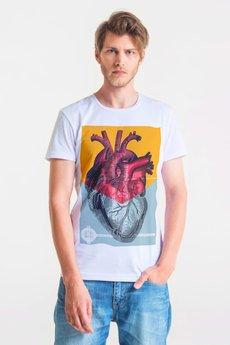 GAU great as You - HALF HEART - t-shirt męski biały