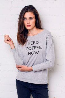 GAU great as You - NEED COFFEE NOW Bluzka Damska Oversize Szara