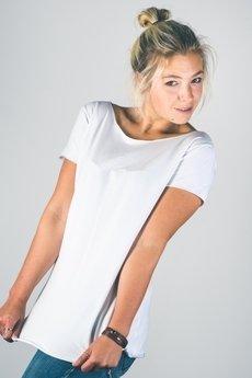 trikoo concept - Bluzka damska z dekoltem V z tyłu biała z bawełny