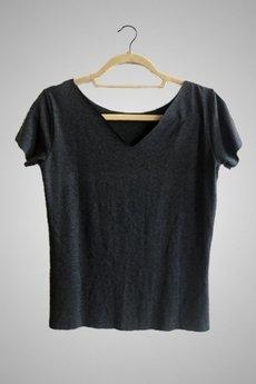 trikoo concept - Bluzka z dekoltem V z tyłu antracyt