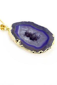 Brazi Druse Jewelry - Brazi Colare Geoda Agatu Fiolet złoto
