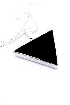 Brazi Druse Jewelry - Colare Modern Onyks srebro trójkąt