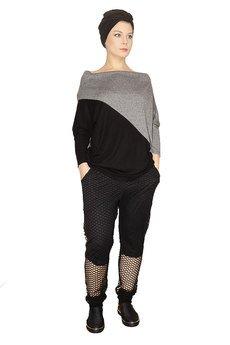 Non Tess - dzianinowa bluza oversize z geometrycznym cięciem