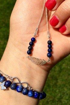 Lapide - Naszyjnik z Lapis Lazuli i piórkiem