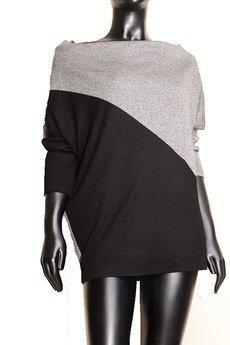 Non Tess - geometryczna bluza oversize czarno szary