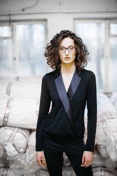 RISK made in warsaw - bluza smokingowa MARLENA DITRISK black