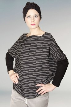 Non Tess - dzianinowa bluzka oversize print nadruk