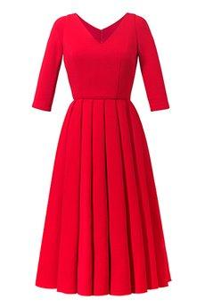 RISK made in warsaw - sukienka TIULEWNA Z RĘKAWAMI red