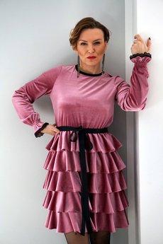 jordja - Sukienka welurowa różowa Rita JORDJA