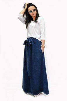 Bien Fashion - Granatowa spódnica maxi z długą kokardą