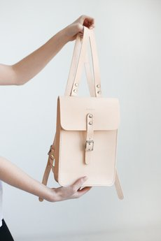 NOSKA - Mały skórzany plecak (naturalny)