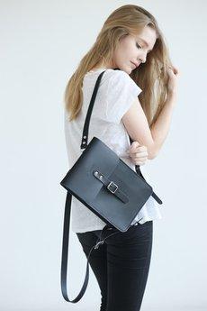 NOSKA - Mały skórzany plecak (czarny)