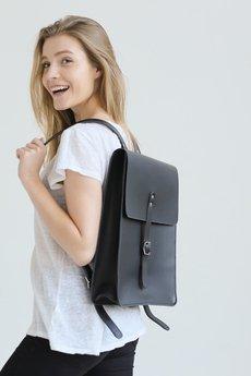 NOSKA - Duży skórzany plecak (czarny)