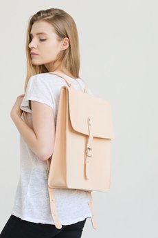NOSKA - Duży skórzany plecak (naturalny)