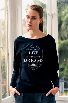 GAU great as You - LIVE YOUR DREAMS Bluzka Damska Oversize czarna