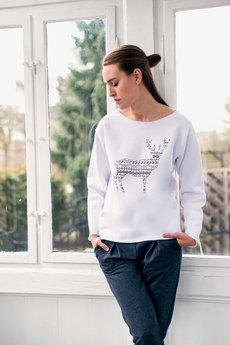 GAU great as You - DEER PATTERN bluza oversize biała