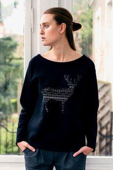 GAU great as You - DEER PATTERN - bluza damska oversize czarna