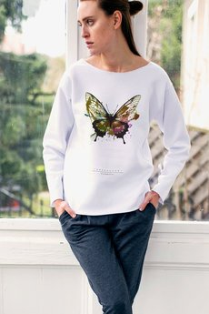 GAU great as You - BUTTERFLY PAINTED bluza oversize biała