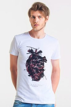 GAU great as You - HEART PAINTED - t-shirt męski biały