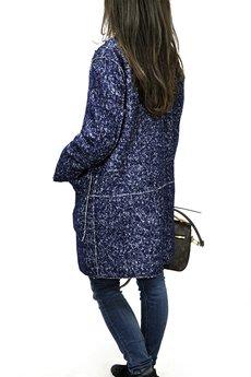 Bien Fashion - Płaszcz z bukli granatowy oversize